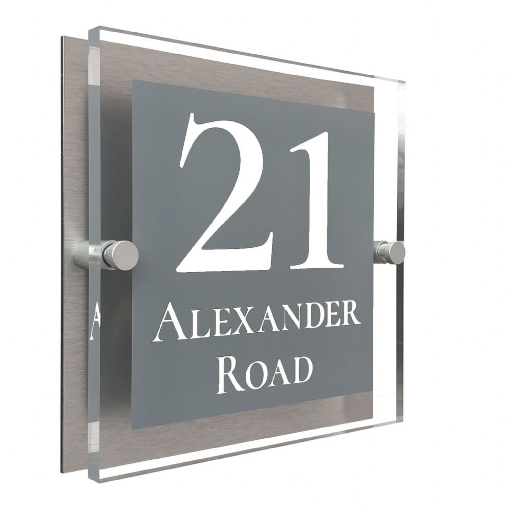 Block Shape - Clear Acrylic House Sign - Mid Grey Colour with White text in Font  2